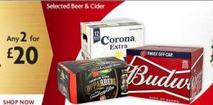 Bud, Carling, Stella, Corona, Magners, Hop House, Strongbow, Kopparberg,Desperados, Estrella 2 for £20 mix & match @ Morrisons