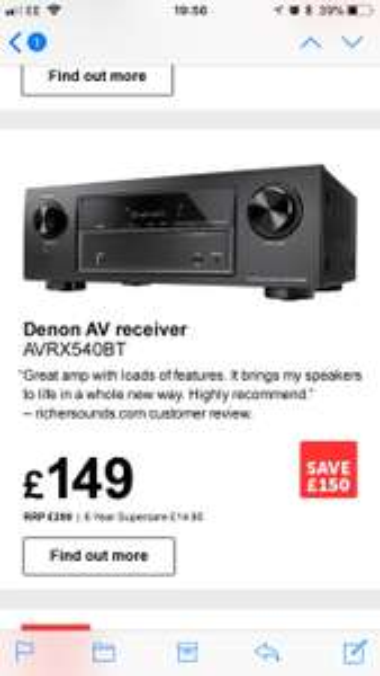 Denon av receiver - tv surround sound - £149 @ Richer Sounds instore only