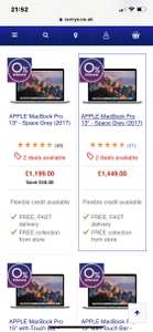 Mac book pro 0% finance at Currys from £1199