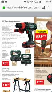 Parkside 20v cordless hammer drill £39.99 @ lidl from  29th march.
