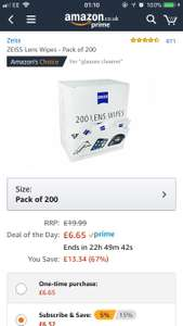 Zeiss Lens Wipes (pack of 200) £6.65 (Prime) / £11.40 (non Prime) at Amazon