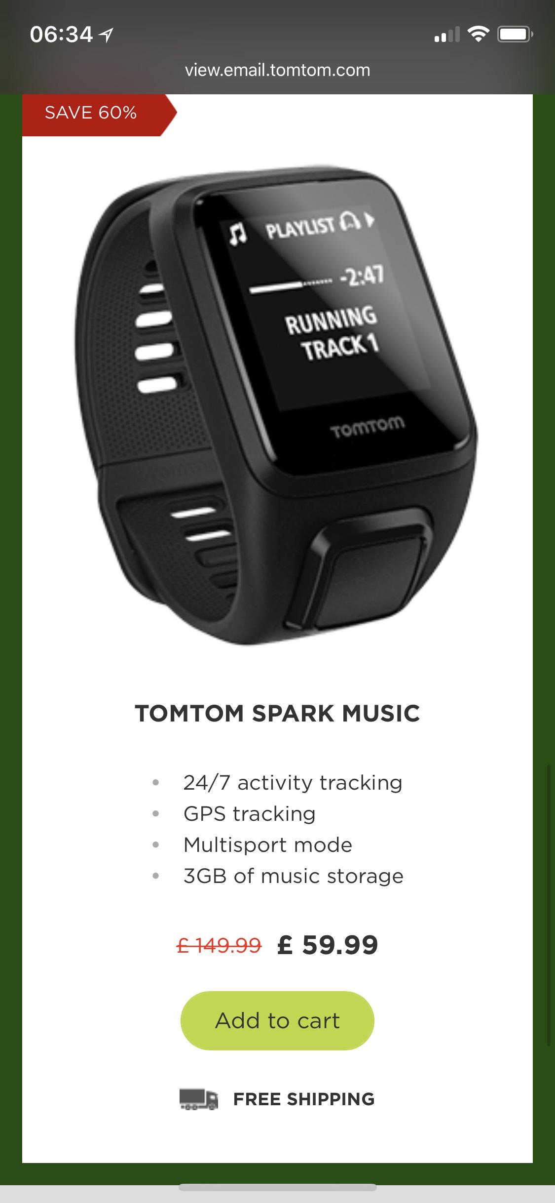 TOMTOM SPARK MUSIC £59.99 tomtom.com