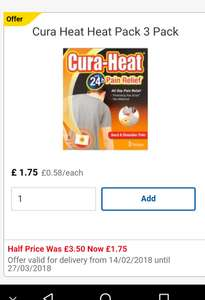 Cura-heat patches (including max) are currently half price £1.75 at Tesco. In-store and online