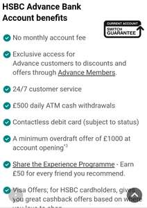 HSBC Advance Current Account customers earn extra £50 for referring a friend or family member **Please do not share referrals**