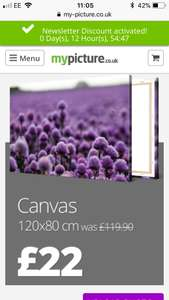 XL canvas print £22 / £27 delivered @ Mypicture