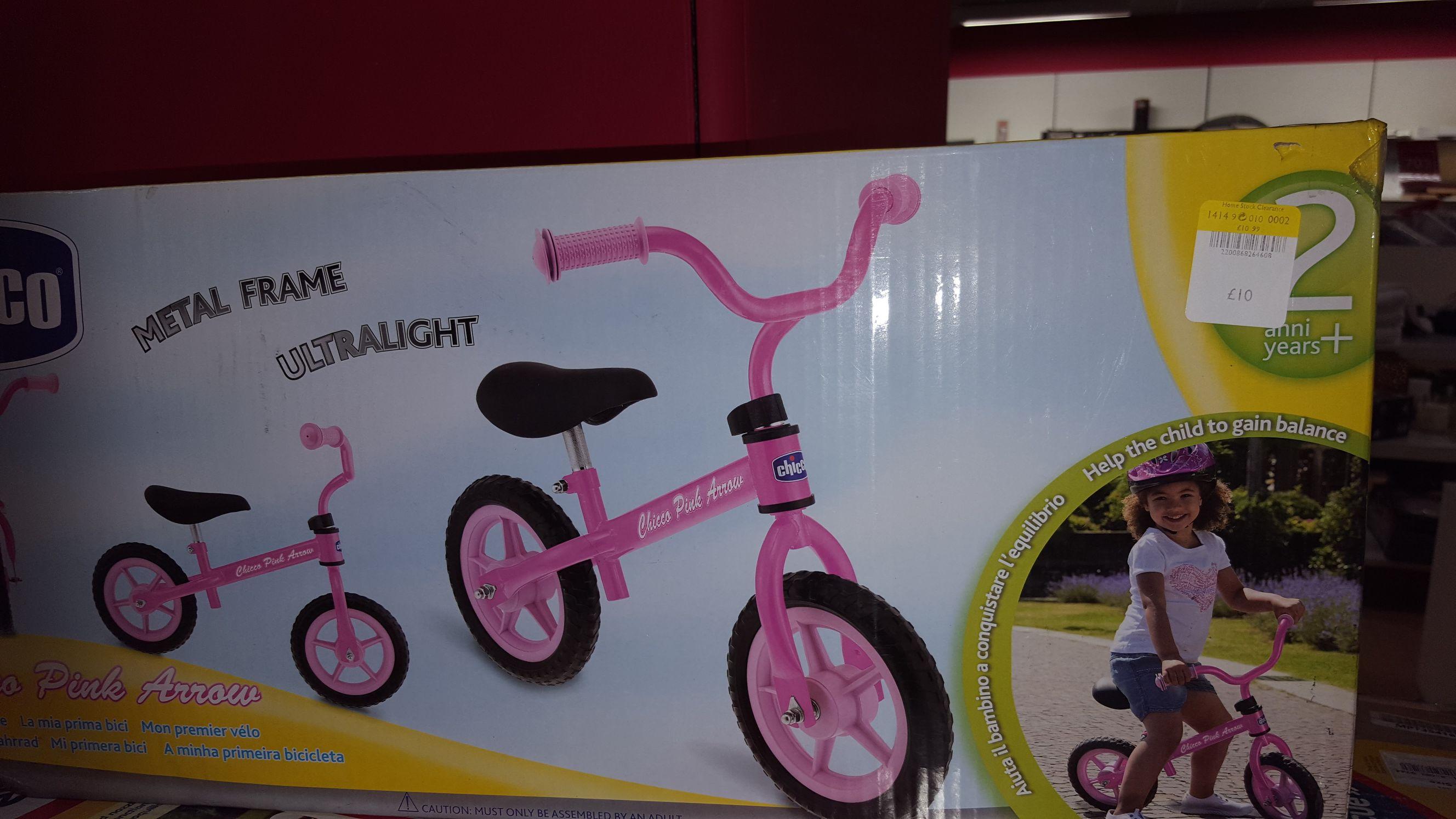 Chicco Pink Arrow Balance Bike £10  in-store at Debenhams at Chatham