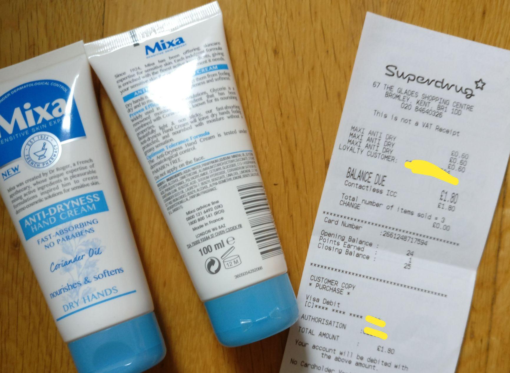 Mixa hand cream 60p Superdrug