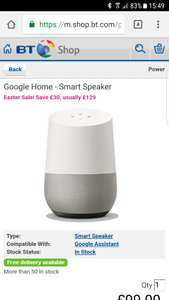 Google Home @ BT Shop for £99
