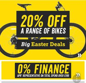 Halfords 20 percent of a range of bikes