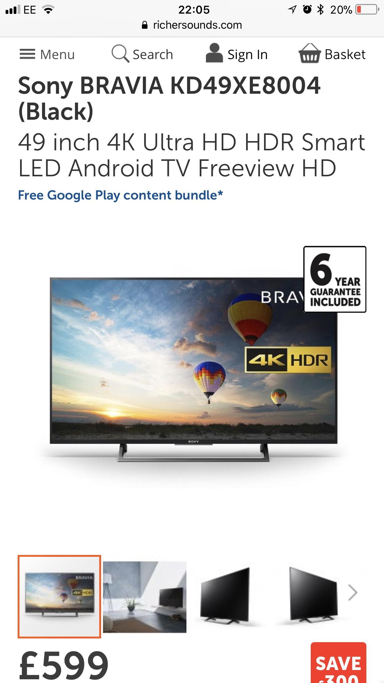Sony Bravia KD49XE8004 £599 @ RicherSounds