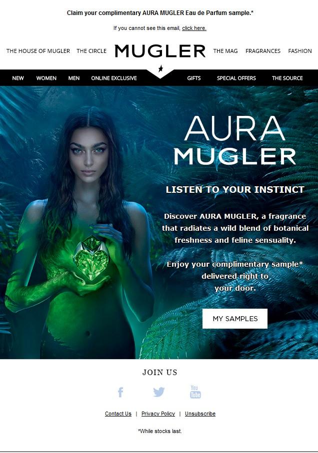 Claim your complimentary AURA MUGLER Eau de Parfum sample @ Mugler