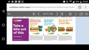 Subway vouchers in today's Metro newspaper Friday 23/03/2018 - (London stores)