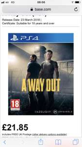 A way out ps4/Xbox one - £21.85 @ BASE