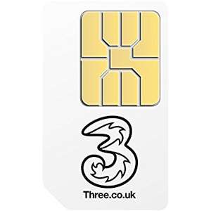 sim only 8gb 600 mins ultd txts – £12p/m (£144 total) and £50 cashback on Three network – £94 for 12 months via Topcashback