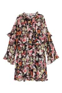 Wide frill-trimmed dress Black/floral £14.99 @ H&M