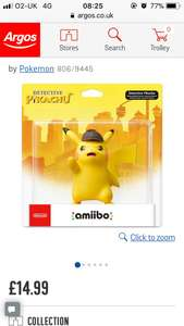 Detective Pikachu Amiibo £14.99 @ Argos