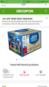 Full box Panini World Cup 2018 stickers £55.25 with code (new customers) @ Groupon