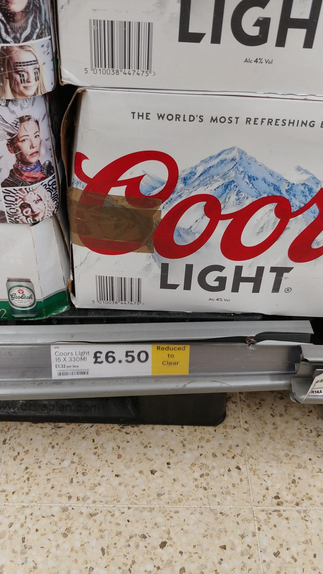 Coors light 15x330ml 4% £6.50 @ Tesco instore