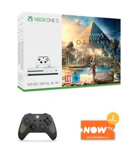 Xbox One S 500GB with Assassins Creed Origins, Recon Controller & NOW TV £219.99 @ Game