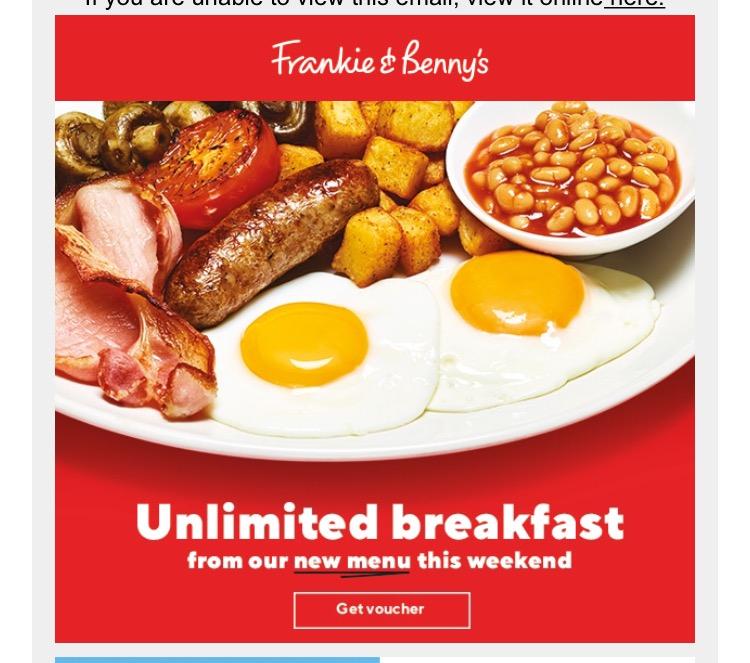 Frankie & Bennies Unlimited Breakfast is back