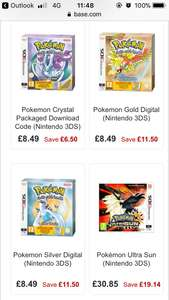 Pokemon Gold, Silver & Crystal for Nintendo 3DS/2DS £8.49 @ Base