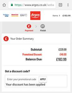 20% off furniture at Argos with discount code