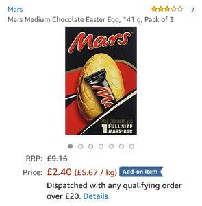 Mars medium chocolate Easter eggs x 3 £2.40 @ Amazon - add on item