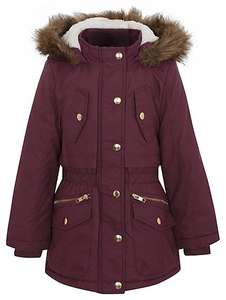 1\2 PRICE Girls Faux fur trim hooded shower resistant padded parka 8-9, £10 was £20 @ Asda