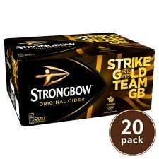 Strongbow 20 can packs reduced to clear in Tesco's. £6.50
