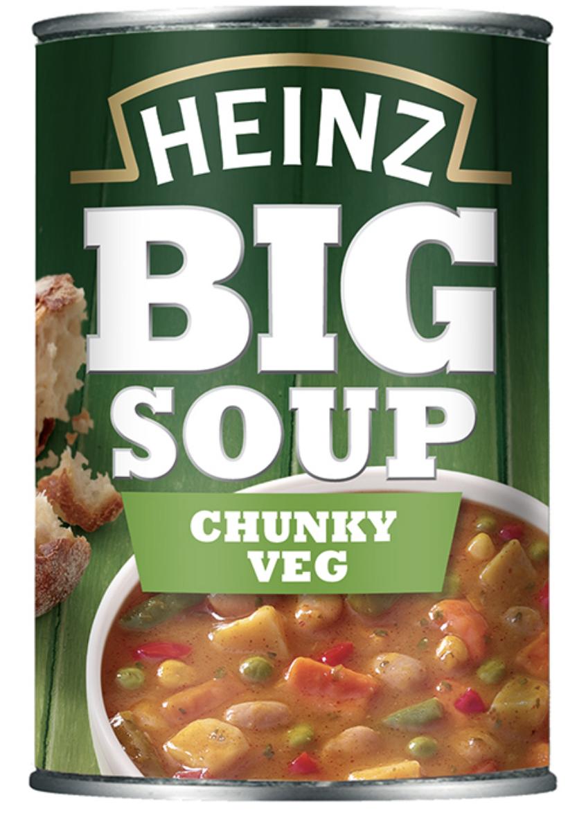 Heinz Big Soup All Varieties  5  400g tins £3 @Asda Normally £1.07p a tin