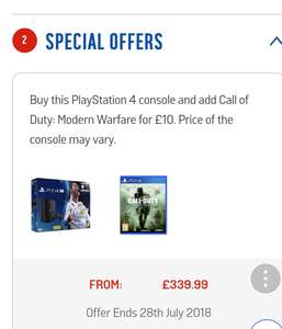 PlayStation 4 pro+fifa 18 +modern warfare remastered or choose a different item in the bundle £339.99 @ Argos