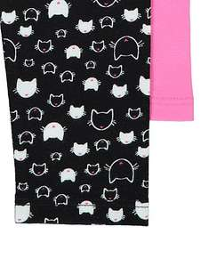 LOW stock- 2 pairs of girls cat face leggings 10-11 years £4 @ Asda