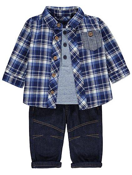 3 piece set- top & shirt & jeans age 6-9 months £8 @ Asda