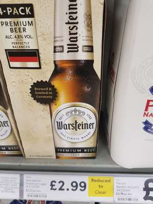 Warsteiner lager 4x330ml bottles - RTC from £4.60 to £2.99 instore @ Tesco Lowestoft