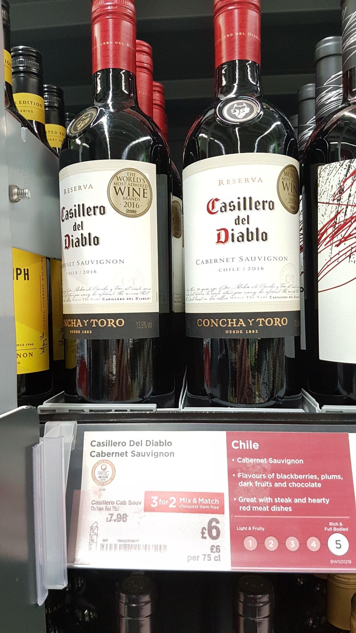 Casillero del Diablo Cabernet Sauvignon or Sauvignon Blanc 3 bottles for £12 @ ASDA