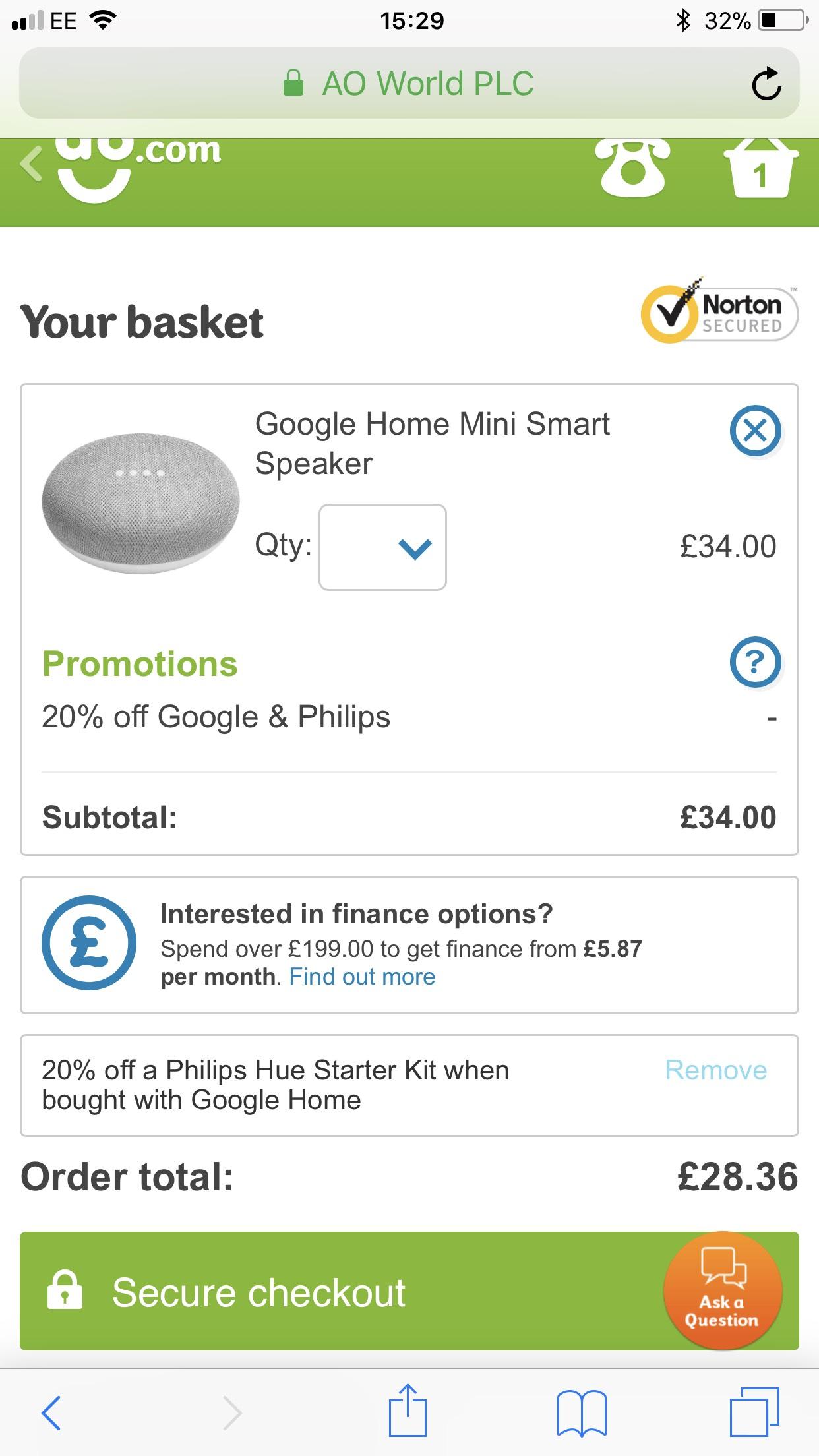 Google Home Mini - £28.36 using trick @ AO