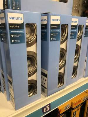 3 x Philips brushed chrome recessed spot lights - £5 @ Poundland