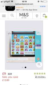 Kids learning tablet online marks and Spencer's - £9 (C&C)
