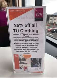 Sainsbury's TU clothing 25% off starts Tuesday 27th March - Now live