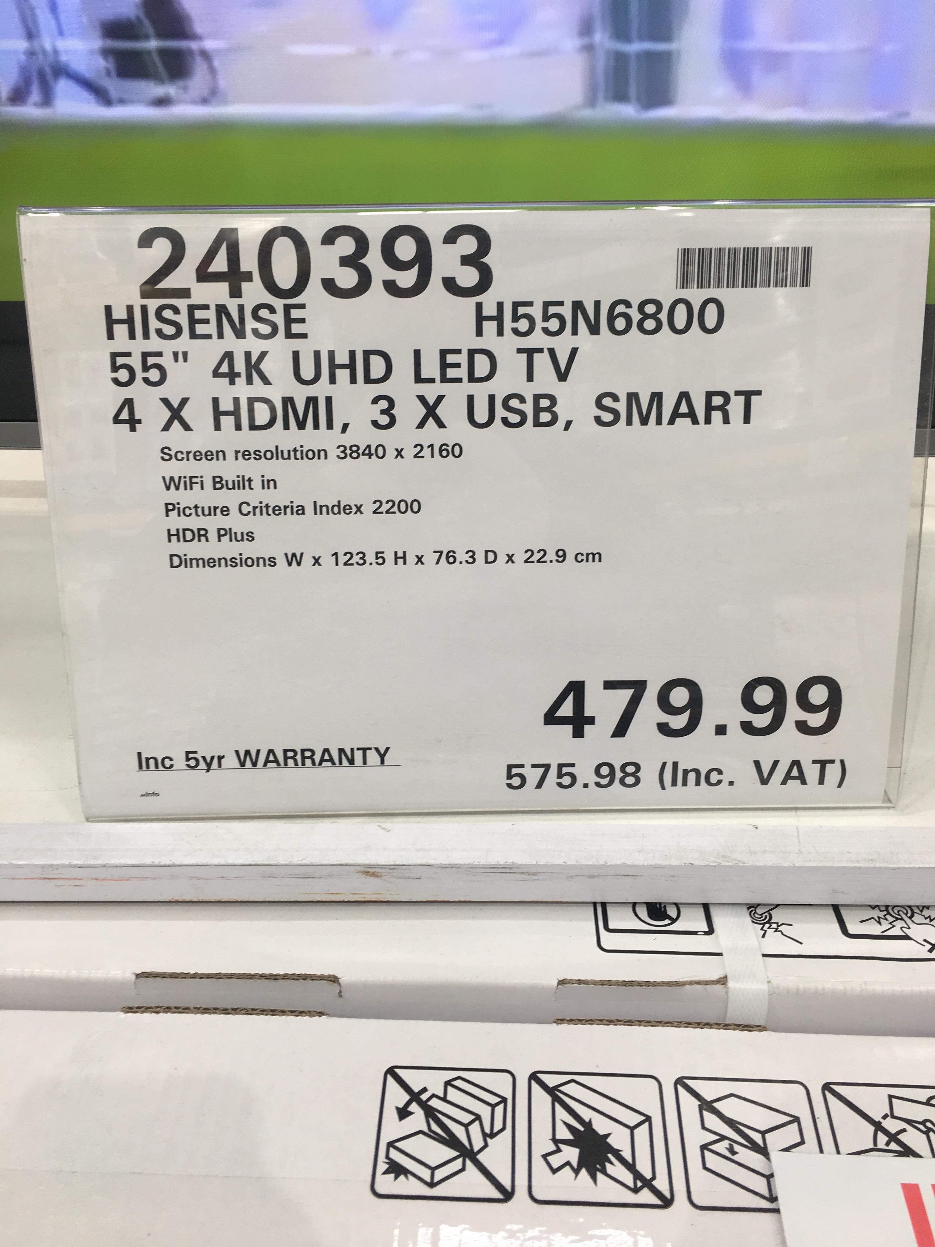 HiSense H55N6800 - £575.98 instore @ Costco (Edinburgh)