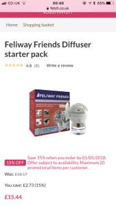 Feliway Friends Diffuser started pack. 15% off first order & TopCashback 6.3% @ Fetch for £18.43 delivered
