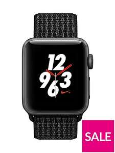 Apple Watch Nike+ Series 3 (GPS + Cellular), 38mm Space Grey Aluminium Case With Black/Pure Platinum Nike Sport Loop at Very for £329