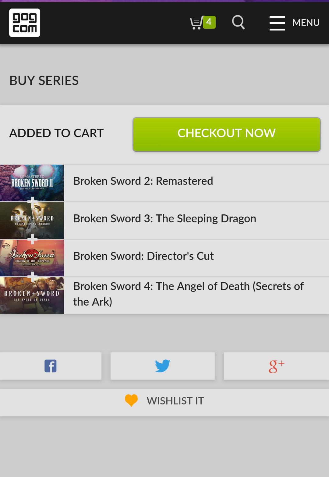 Broken Sword Bundle of 4 PC games inc Broken Sword directors cut, Broken Sword 2 Remastered, Broken Sword 3: The Sleeping Dragon and Broken Sword 4: Angel Of Death @ GOG.com for £3.96