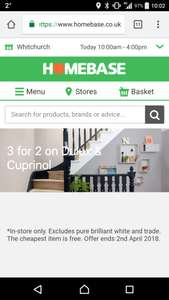 Dulux and Curprinol 3 for 2 @ Homebase (instore only)