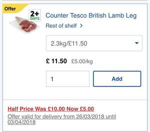 Fresh from the meat counter British lamb leg instore at Tesco £5kg