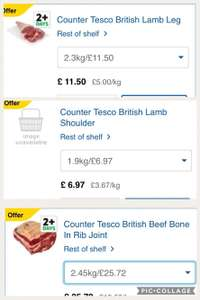 Fresh British joint offers at Tesco including British bone in rib/lamb shoulder/lamb leg and also beef roasting joints