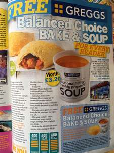 FREE Greggs Balanced Choice Bake and Soup in Take a Break Magazine