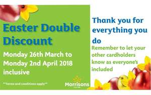 Morrison double discount week for staff discount card holders  26.03 - 02.04