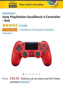 PS4 DualShock red - prime members only £36.95 @ Amazon