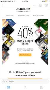 40% off audible (members only)